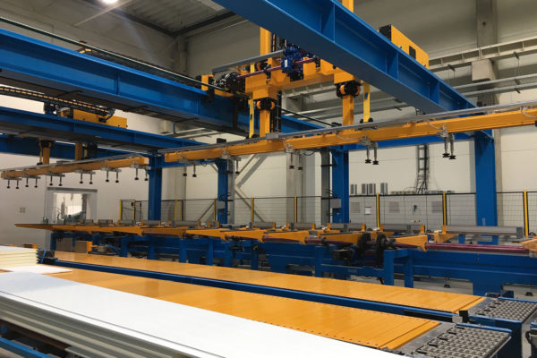 Rockwool sandwich panel production line cooling and handling - 1first srl